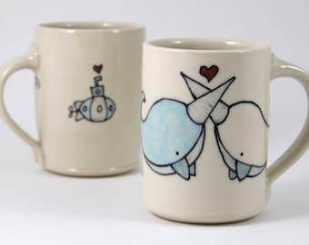 Narwhal Coffee Mug - Large Coffee Mug - Narwhals in Love Coffee Cup - Handmade Mug - Narwhals Mug - Tea Mug - Tea Cup - Cute Mug