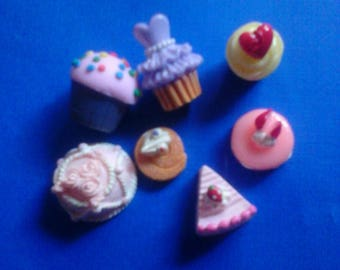 Yummy kawaii cabochon decoden deco diy cake charm mix    A  7 pcs---USA seller