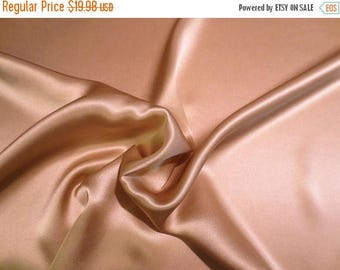 ON SALE Cafe Beige Solid Color 16 mm Pure Silk Charmeuse Fabric--By the Yard