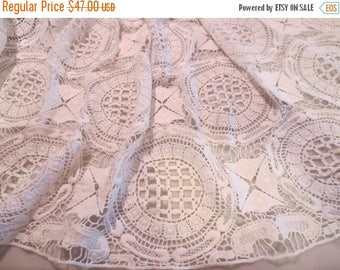 ON SALE White Crochet Look Pure Cotton Lace Fabric--By the Yard