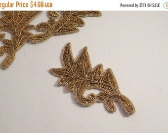 ON SALE Gold Boullion Embroidered Leaf Design Applique--One Piece