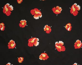 Elegant Red Poppies on Black Print Pure Cotton Pique Fabric--By the Yard
