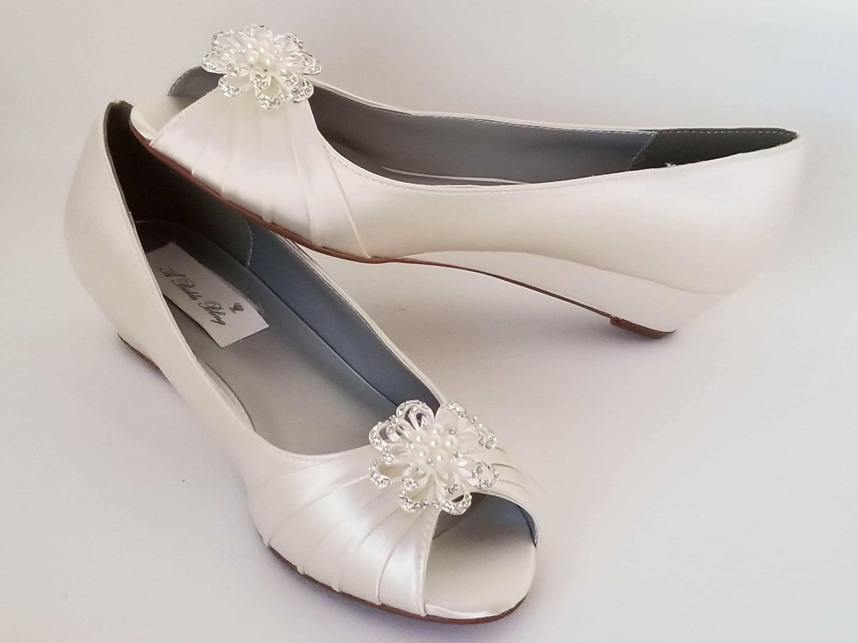 Ivory Wedding Wedge Heels: Ivory Wedding Ivory Wedge Shoes Ivory Bridal Wedges Ivory