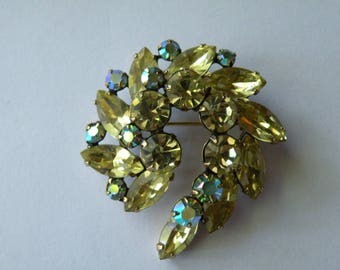 Regency jonquil yellow and yellow- blue AB rhinestone brooch pin