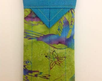 """Birds and Blooms Quilted Batik Fabric Snap Eyeglasses Case 3-1/4"""" x 6-1/4"""""""