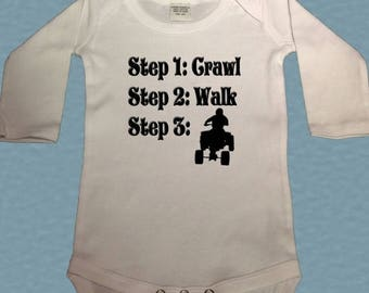 FLASH SALE Future ATV rider bodysuit - steps crawl walk quad bodysuit - Atv shirt - future Atv baby Bodysuit - 4 wheeler shirt - baby shower