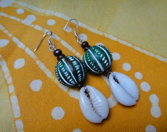 Cowrie Shell African Beaded Earrings