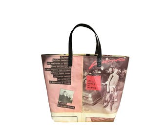 Pink print Real newspaper tote bag- black leather handles
