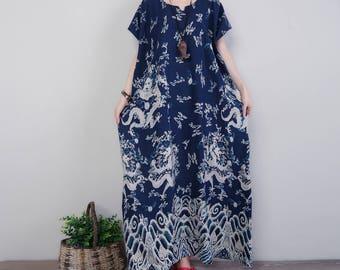 Casual Plus Size Loose Fitting Linen Cotton Maxi Dress - Women Long Dress