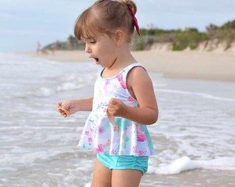 High waisted Baby Toddler Girls Swimsuit aqua blue floral bikini