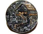 Antique Button ~ Black Glass Picture Button Windmill House Silver and Gold luster