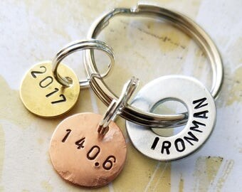 Triathlon Ironman Key Chain Gift with Hardware Washer, Copper Disc and Brass Disc 140.6