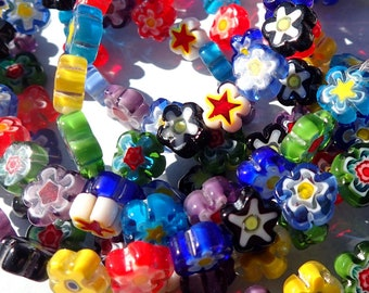 Flower Millefiori Glass Beads - Assorted Colors - 8-10mm Use in Mosaics - Supplies to Create Jewelry - Approx 50 beads