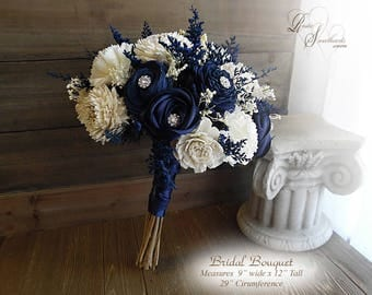 Ships in 4 weeks ~ Navy Blue and Ivory Sola Flower Bridal Bouquet