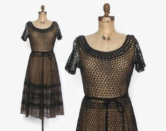 Vintage 50s Nude Illusion DRESS / 1950s Black Crochet Full Skirt Belted Dress L