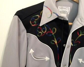 Vintage H bar C Western Shirt, Mens Cowboy Rodeo Wear, California Ranchwear, Pearl Button Snap Up, Long Tail HbarC, Squaredance