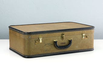 Vintage Tweed Suitcase, Tweed Luggage, Macy Associates Hemisphere, Travel Decor, Movie Props