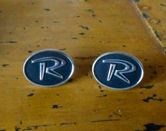 "Cufflinks - Vintage - Letter ""R"" - Silvertone R Iniital - HICKOK"
