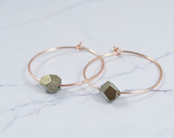 Pyrite Earrings, Pyrite Hoop Earrings, Fools Gold Earrings, Boho jewelry, Raw Crystal Earrings, Hoop Earrings, Big Hoop Earrings, Any Size