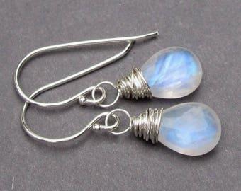 Moonstone Dangle Earrings, Sterling Silver Wire Wrapped Gemstone Birthstone Earrings, Rainbow Moonstone Earrings, Moonstone Jewelry