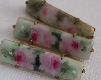 Antique Victorian pink and green floral painted porcelain set of 3 scatter pins, collectible jewelry