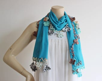 Turquoise Scarf with Crochet Lace Edges-Beaded Scarf