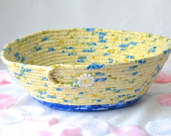 Handmade Summer Basket, Key Holder, Decorative Yellow Bowl, Lovely Blue Cotton Fiber Bowl, Picnic Basket, Hostess Gift Basket