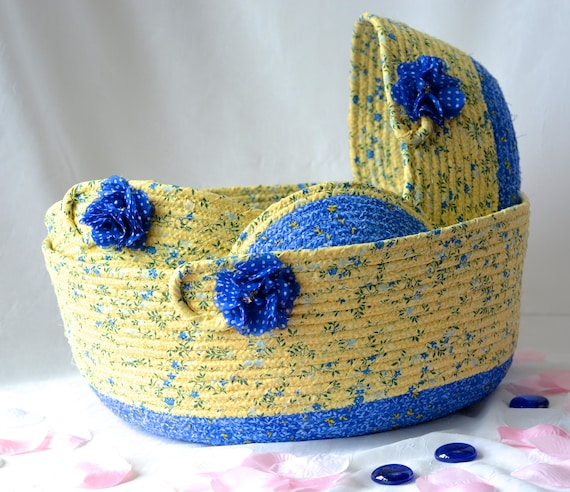 Lovely Coiled Basket Set, 4 Handmade Fabric Baskets, Lovely Blue and Yellow Storage Baskets,  Beautiful Decorative Home Decor Bowls