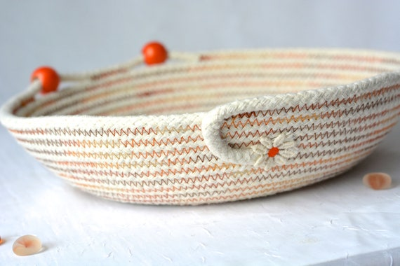 Cute Desk Accessory Bowl, Handmade Natural Cotton Basket, Modern Clothesline Basket, Lovely Ring Tray,  hand coiled natural rope basket