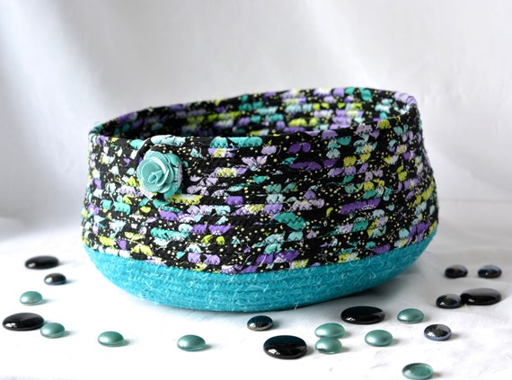 Handmade Cat Bed, Hand Coiled Pet Bed, Green Fabric Basket, Dog Bed Furniture, Teal and Black Storage Organizer Bin Rack