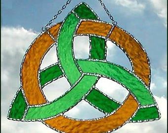 "Irish Design, Handcrafted Stained Glass Sun Catcher, Celtic Knot Design Sun Catcher, Decorative Solder, Irish Suncatcher - 8"" - G-9648-GR-GL"