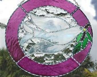 "Stained Glass Suncatcher - Handcrafted Mauve Peace Dove - 10"" Wide. Christian Gift - Glass Suncatcher, Decorative Solder Work - 9650-MV-10"""