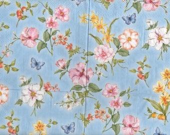 3279 lot 4 paper napkins various blue flowers