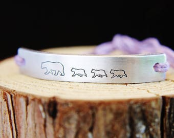 Bracelet Mama Bear Cub ONE Custom Hand Stamped Jewelry Name Tie On Hemp Cord Personalized Friendship Positive Children Family Quote