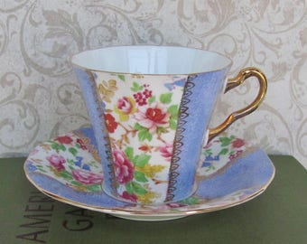 Tea Cup And Saucer Set English Adderley Fine Bone China 1950-1962 Ridway Potteries