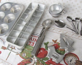 Vintage Kitchen Metal Muffinaire Pan Frigidaire Tray Ice Cream Scoop Measuring Cups Spoons Scottie Dog Christmas Tree Cookie Cutters