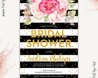 Bridal Shower Bachelorette Pink Floral Black and Gold Fabulous Floral Glam Printable Invitation