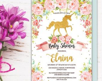 Unicorn Baby Shower Invitation, Magical Whimsical Enchanting Gold Glitter Floral Unicorn Printable Invitation, Girl Baby Shower Invite, V.2
