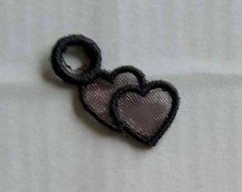 UK Set of 3 TINY lace twin hearts charm, applique, trimming, jewelry making, earrings, necklace, bracelet, choker, gothic patch