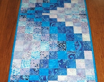 Sale Christmas in July Batik Table Runner Bargello, table runner quilted, Pieced, handmade, blue, violet, patchwork