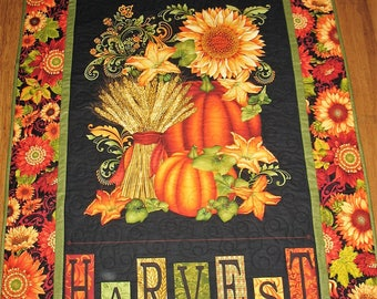Autumn Wall Hanging , fall, pumpkins, fall leaves, sunflowers, quilted, handmade, fabric from Henry Glass
