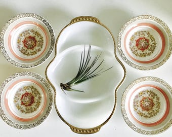 Fire King Milk White Glass Triple Divided Relish Dish