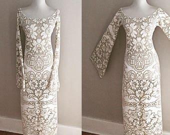 VINTAGE Lace Wedding Dress /  Lace Hippie Wedding Dress / BoHo Bohemian / Two Tone Beige White Crochet Sheer Angel Sleeve Maxi Dress