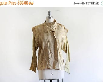 25% OFF SALE Vintage Giancarlo Linen Avant Garde Blouse / Made in Italy / Asymmetric Style