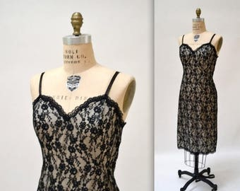 SALE Vintage Lingerie Black Lace Camisole Dress Size Medium Large// Vintage Lace Night gown Black Camisole dress lingerie Medium
