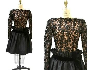 SALE Vintage Black Lace Dress By Bob Mackie Small Medium// 80s 90s Black Sequin Party Dress Lace Long Sleeve Crinoline Dress