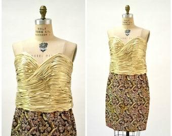 SALE 80s Vintage Party Dress Large Gold Metallic Dress By Rose Taft Couture Dress// Vintage Gold Lame Brocade Dress Large Strapless Party Dr