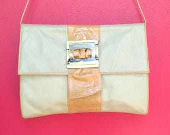 Vintage Taupe LEATHER Large Envelope Purse by Susan Gail made in ITALY