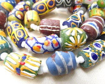 AFRICAN Glass Trade Bead Long Necklace VINTAGE handmade African Glass Beads