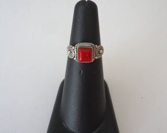 Vintage 925 Sterling Silver Red Coral Square Stone Ring, Size 6, Pinky Ring, 2 Grams
